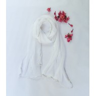 Two Feet White Chiffon Stole with Gota Patti